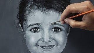 Acrylic Portrait Painting   Black & White   Portrait of a cute girl   2018