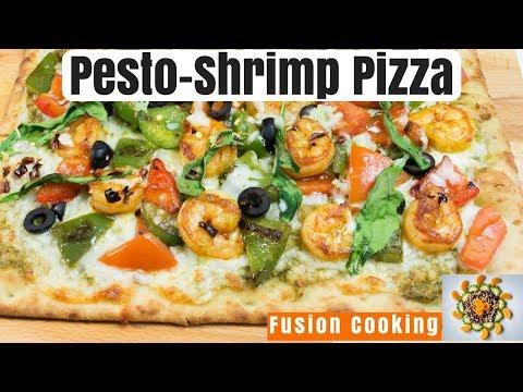 Artisan Shrimp Pizza | Pesto Pizza Recipe | Shrimp Pizza With Pesto Sauce