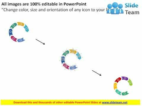 six staged arrow circle diagram flat powerpoint design