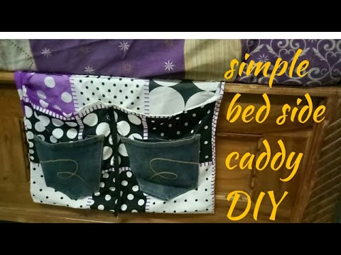 Easy bed side caddy DIY in Telugu || bed side pocket with pillow cover ||