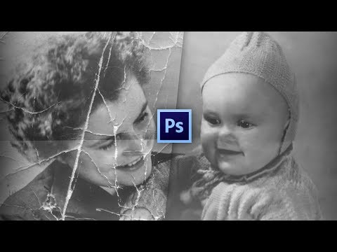 RESTORING AN OLD BLACK AND WHITE TORN AND RIPPED PHOTO | PHOTOSHOP