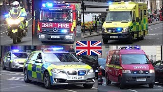 Fire engines, Police and Ambulances responding in London + Notting Hill Carnival
