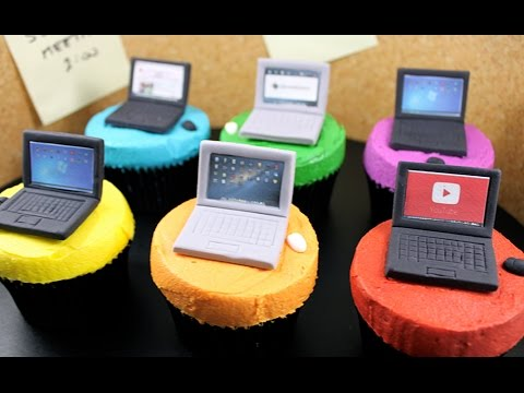 Laptop Computer Cupcakes! How to Make Mini Tech Cupcakes with Cupcake Addiction