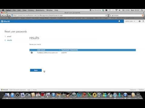 Microsoft Office 365 user password reset via administrator portal (Wave 15)