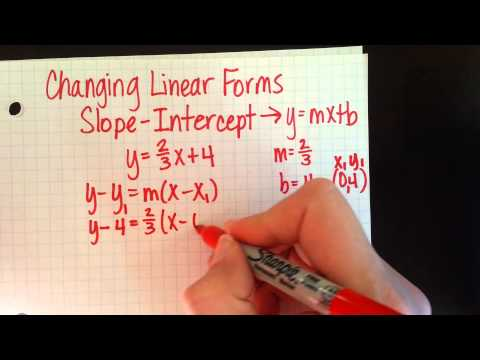 Changing Linear Forms - Slope-Intercept to point-slope and standard