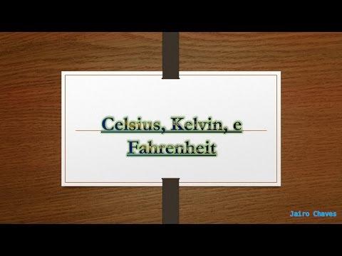 Conversão de Celsius, Kelvin, e Fahrenheit.