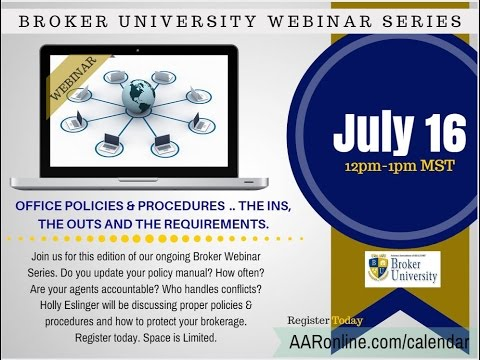 Creating & Updating Your Brokerage Policies and Procedures  7.16.2015