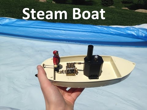 Home made mini steam boat running in water
