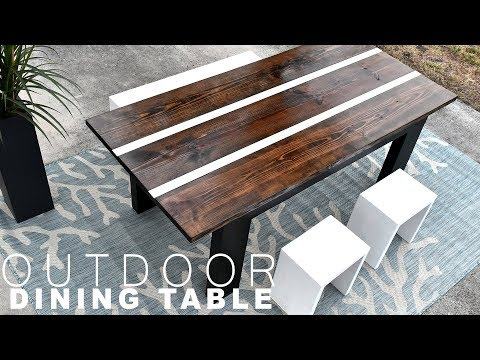 DIY OUTDOOR DINING TABLE | with aluminum inlay