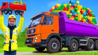 Kids Pretend Play and Learn with Trucks, Excavators & Toy Vehicles