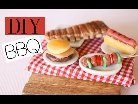 Backyard BBQ - Polymer Clay Food Tutorial - RIbs, Hot Dogs, Cheeseburger, Hamburger, Vegetable Kabob