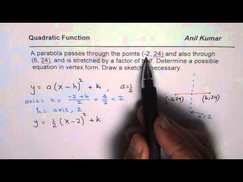 How to Find Quadratic Function From Two Horizontal points and Vertical Stretch
