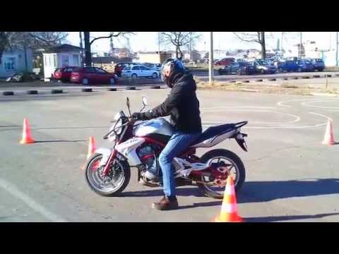 First practical training class for motorcycle drivers licence exam.