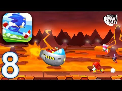 SONIC RUNNERS ADVENTURE Gameplay Walkthrough Part 8 - Lava Mountain Boss Level (iOS Android)