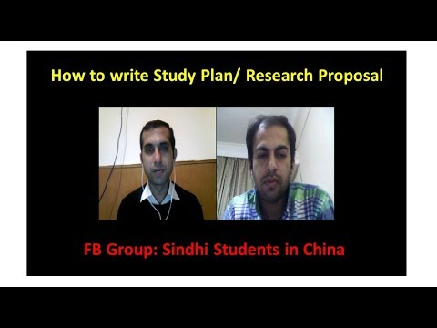 How to write a Study Plan/Research Proposal with Mazhar Jarwar (HIT- China)
