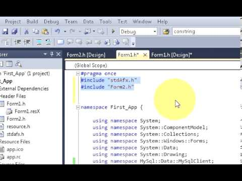 Visual C++ Tutorial 6 -Windows Forms Application: How To Open A Second Form