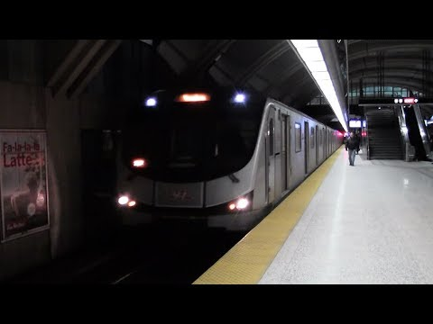 TTC Subway Arrives and Departs Sheppard West Station