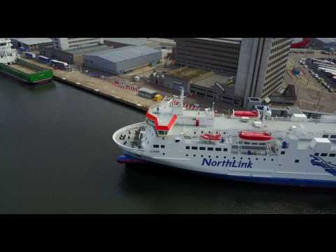 NorthLink ferry before boarding in Aberdeen, Scotland