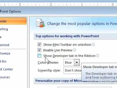 How to access the hidden Developer tab on the Office ribbon in PowerPoint