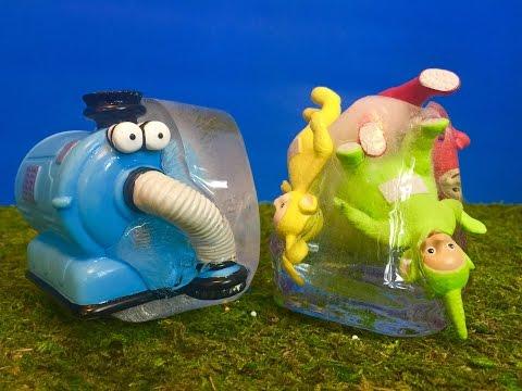NOO NOO and TELETUBBIES Toys Frozen in GIANT ICE CUBES!