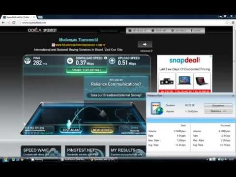 Reliance 3G Internet Speed Test