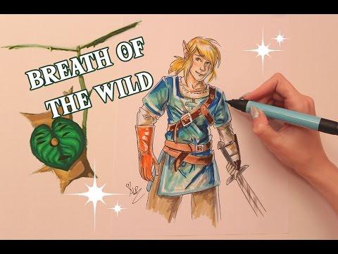 Legend of Zelda BOTW Link Marker Drawing (ASMR no speaking, great sketching/marker sounds)