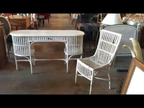 Art Deco Stick Wicker Painted Desk & Chair