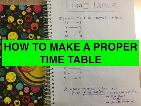 HOW TO MAKE A PROPER TIME TABLE ?