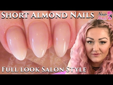 Salon Style Short Almond Shape Acrylic Nails Full Look - Naio Nails Tutorial