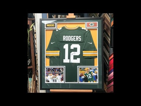 Framing a signed Aaron Rodgers Jersey with Photos and Patches
