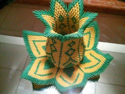 How to make 3D origami vase Lotus (restored)