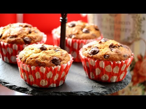 Eggless Banana Chocolate Chip Cupcakes Recipe | How To Make Banana Cake - Super Soft, Moist & Fluffy
