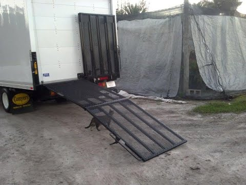 Box truck fold out ramp for lawn care and light industrial loading