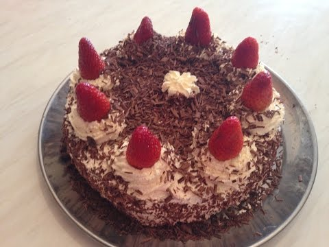 How to make black forest cake with strawberry