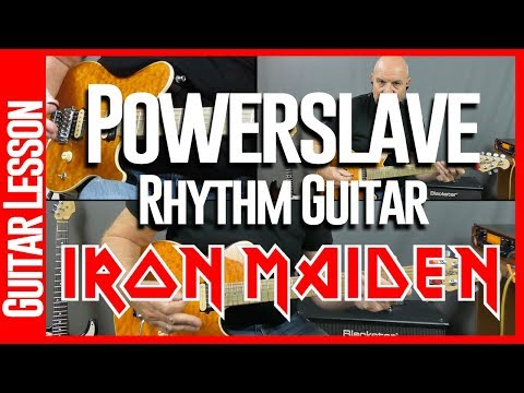 Powerslave By Iron Maiden - Guitar Lesson Tutorial Part 1 Rhythm Guitar