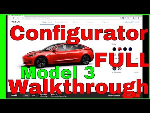 Tesla Model 3 Configurator Walkthrough Full with all options 4k