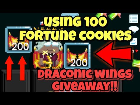 USING 100 Fortune Cookies !! + Draconic Wings Giveaway | Growtopia