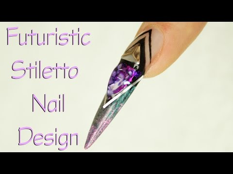 Futuristic Stiletto Nail Design - Galaxy - Cosmic Nails by Goda
