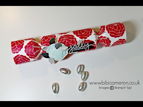 Christmas crackers  tutorial using gift bag punch board by Stampin Up