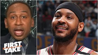 Stephen A. reacts to Carmelo saying he'd have '2 or 3 rings' if the Pistons drafted him | First Take