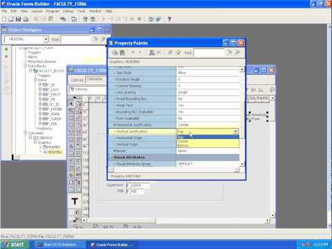 Tutorial 1 - Creating a basic form with Oracle Form Builder 10G