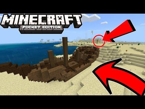 SHIPWRECK On LAND! Minecraft PE 1.4.2 Seed (Super Rare Seed)