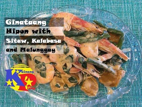 Ginataang Hipon with Sitaw, Kalabasa and Malunggay
