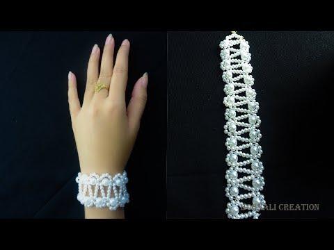 how to make pearl bracelet  easy way|super easy tutorial|bracelet tutorial video by bornali creation