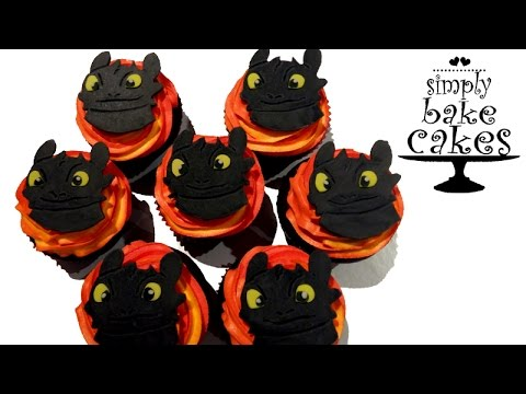 2D Toothless - How to train your dragon cupcake topper TUTORIAL