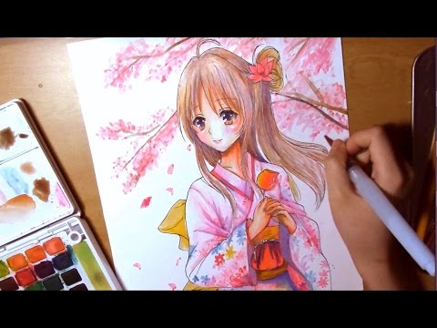 Speed Drawing Anime Girl In Kimono Under Cherry Blossom Trees