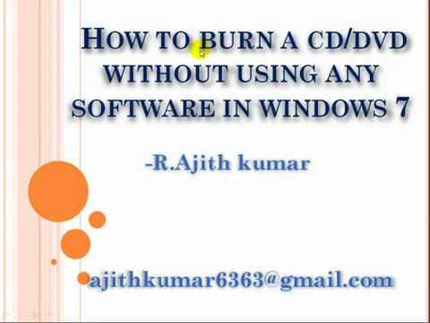 How to burn a cd or dvd without using any software in windows7-Tamil tutorial