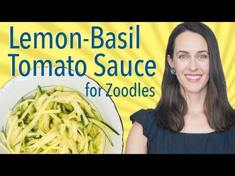 Zucchini Noodles with Lemon-Basil Tomato Sauce -Raw Vegan Recipe Demo for Zoodles Without Spiralizer