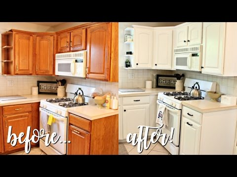 HOW I TRANSFORMED MY KITCHEN UNDER $100! | Outdated Oak to Bright White