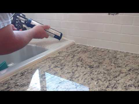 How to install silicone caulk around kitchen countertop, shower, bath tub etc.